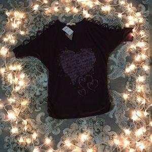 Dark purple Shirt with open shoulder design